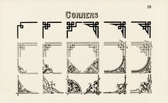 Ornamental corner designs from Draughtsman's Alphabets by Hermann Esser (1845–1908). Digitally enhanced from our own 5th edition of the publication.