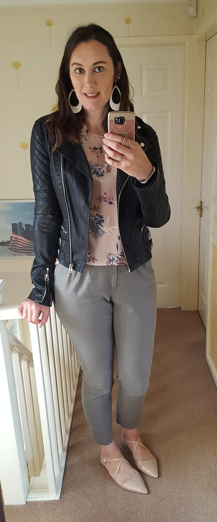 ca86f516d5 Jacket - Topshop Tall (via FB) Top - Primark Pants - Gap (via charity shop)  Shoes - Primark Necklace - gifted. Earrings - Nickel and Suede