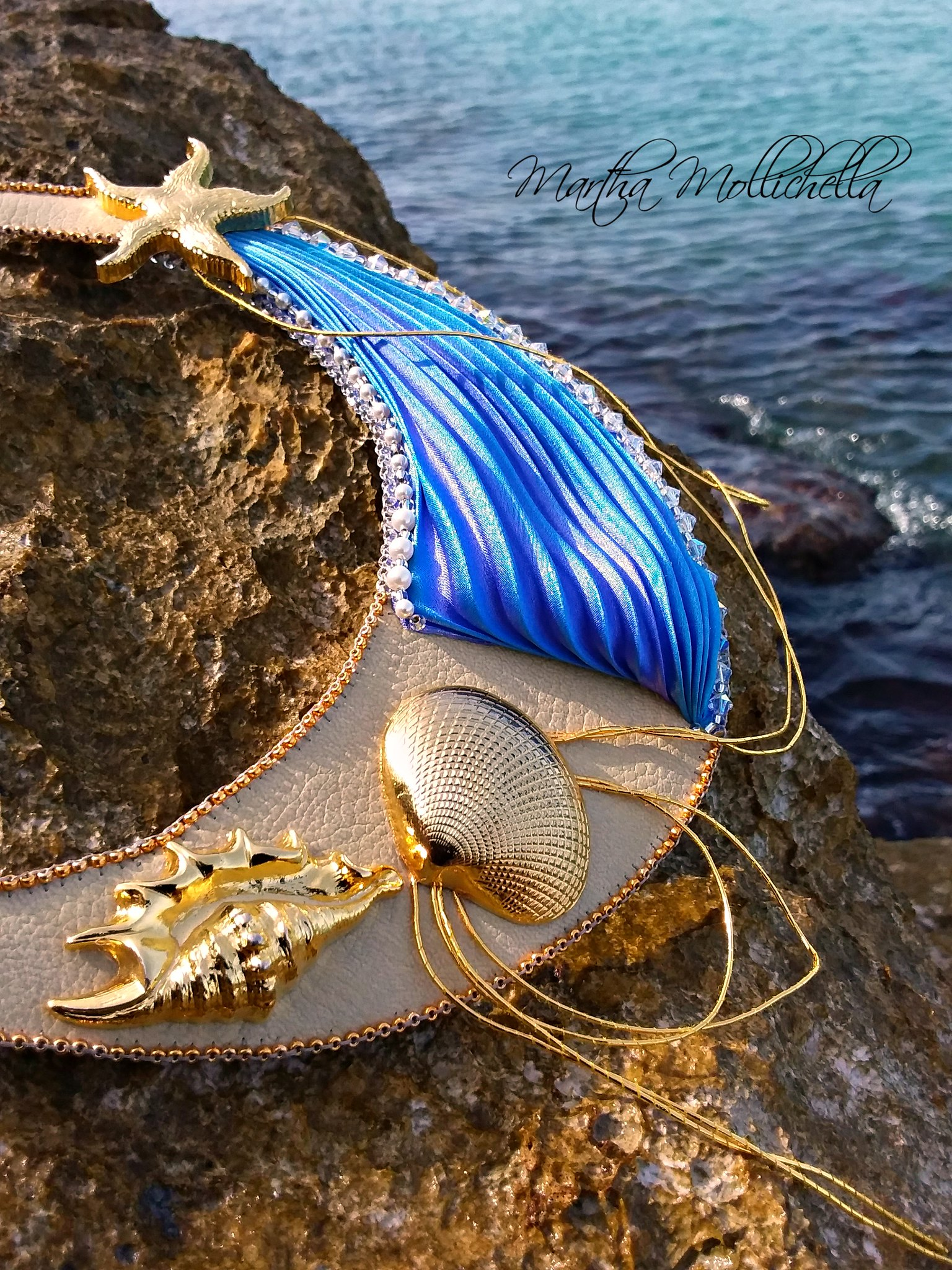 Shibori bead embroidery sea necklace by Martha Mollichella