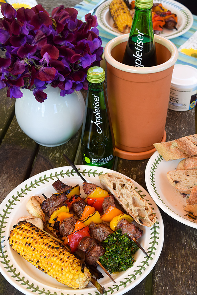 Summer Barbecue with Appletiser #barbecue #grilling #steak #skewers #kabobs #chimichurri