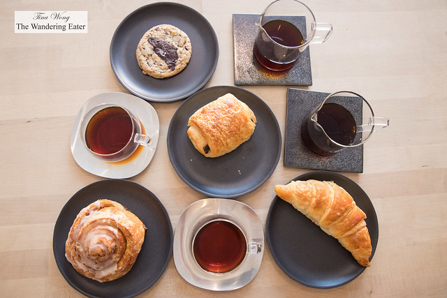 Most of our flight of coffee and pastries