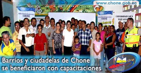 Barrios y ciudadelas de Chone se beneficiaron con capacitaciones