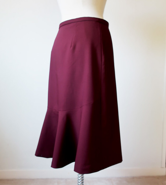maroon wool skirt side back view