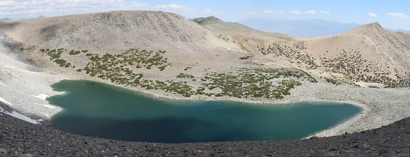 Thunder and Lightning Lake from the saddle east of Cloudripper Peak