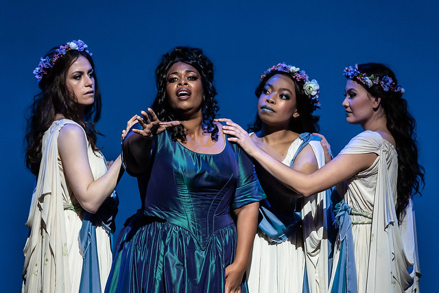 Jacquelyn Stucker as Naiad, Sarah-Jane Lewis as Ariadne, Francesca Chiejina as Echo, Aigul Akhmetshina as Dryad in Ariadne auf Naxos, Jette Parker Young Artists Summer Performance 2018, The Royal Opera © 2018 ROH. Photograph by Clive Barda