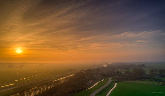 Misty sunset in Noord-Holland.