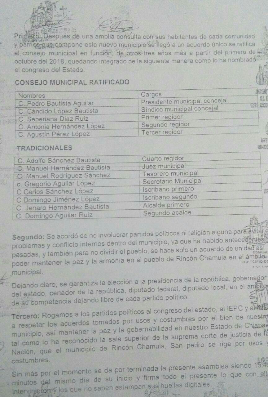 El 19 de febrero pasado, las autoridades locales decidieron que Pedro Bautista y su consejo gobernaran durante tres años y medio