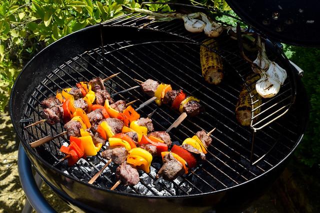 Summer Steak Skewers #barbecue #grilling #steak #skewers #kabobs #chimichurri