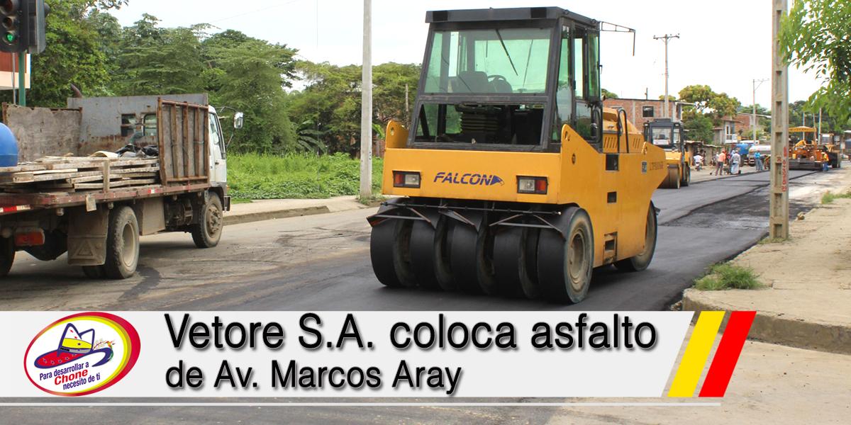 Vetore S.A. coloca asfalto de Av. Marcos Aray