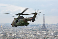 French Army ALAT AS532 Cougar helicopter over Paris
