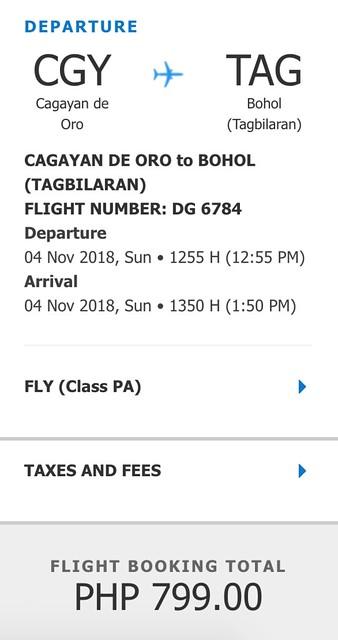 Cebu Pacific Cagayan de Oro to Tagbilaran Promo November 5, 2018