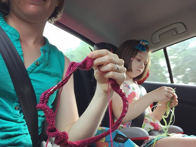 Knitting in the car on our way to Winona.