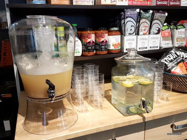 Kombucha and lemon & lime water