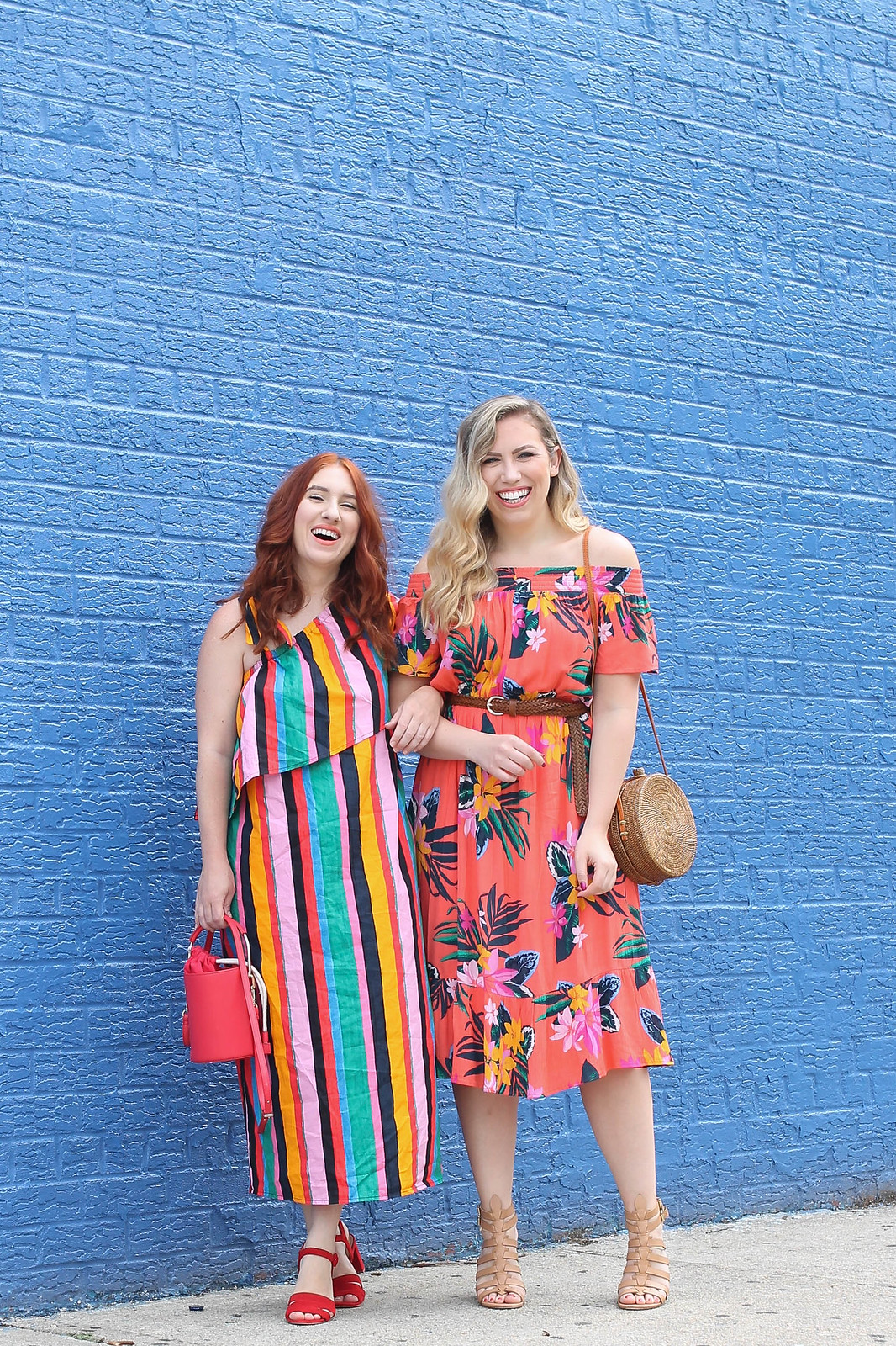 Colorful Printed Summer Outfit Inspiration Under $40 Style Fashion Bold Bright Blogger Friends Blue Brick Wall NYC