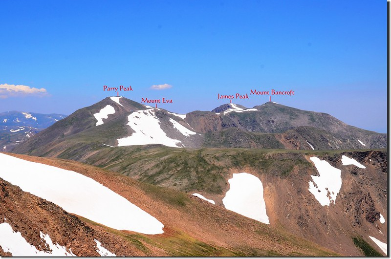 Looking northeast at James Peak Wilderness mountain from Mount Flora 1-1