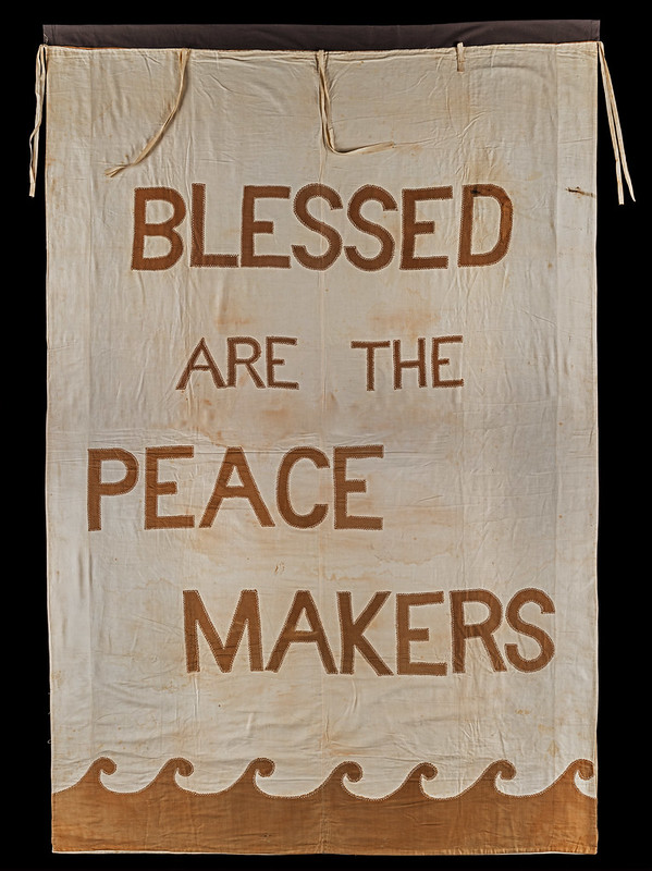Blessed are the Peacemakers banner. Credit: LSE Library