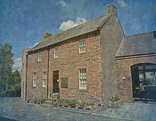 robertburns house dumfries dunfriesandgalloway scotland bard poet hame home building architecture texture tree sky clouds artwork art artistic painting rabbie rabbieburns history historical