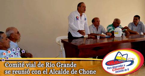 Comité vial de Río Grande se reunió con el Alcalde de Chone