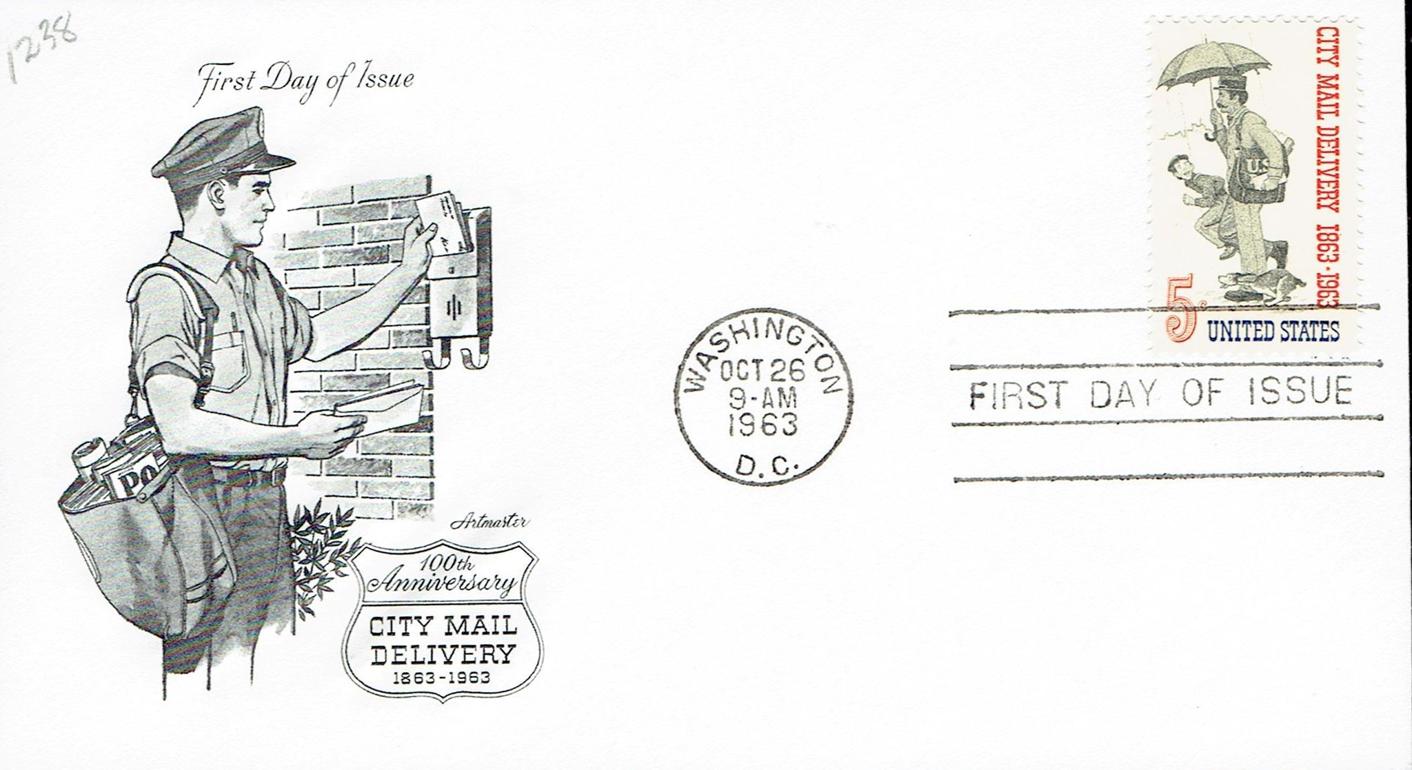United States - Scott #1238 (1963 first day cover, Artmaster cachet