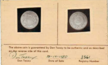 Taxay Two Cent card front