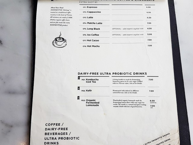 Menu Coffee & Probiotic Drinks