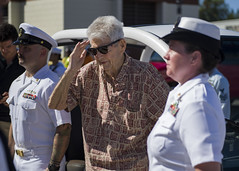 Retired Chief Boatswain's Mate and Pearl Harbor survivor Ray Emory salutes USS O'Kane (DDG 77) Sailors during a farewell ceremony at Pearl Harbor in June. (U.S. Navy/MC2 Justin Pacheco)