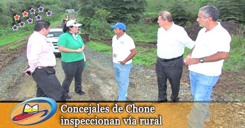 Concejales de Chone inspeccionan vía rural