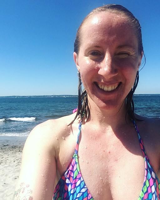 thursday, me, after a swim, tropical beach, helsingborg