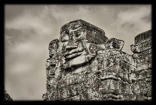 Siem Reap K - Bayon stone face 05