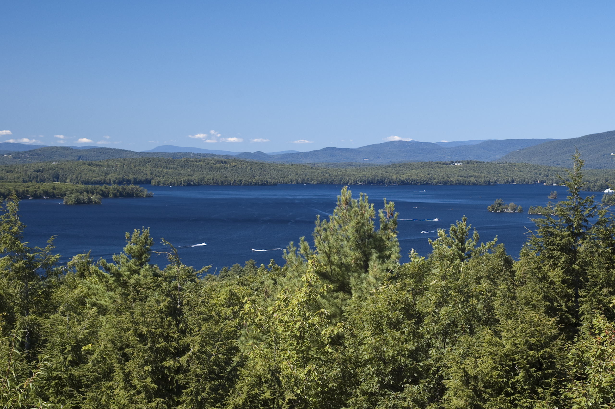 Lake Winnipesaukee and the Ossipee Mountains. Photo taken on September 6, 2009.