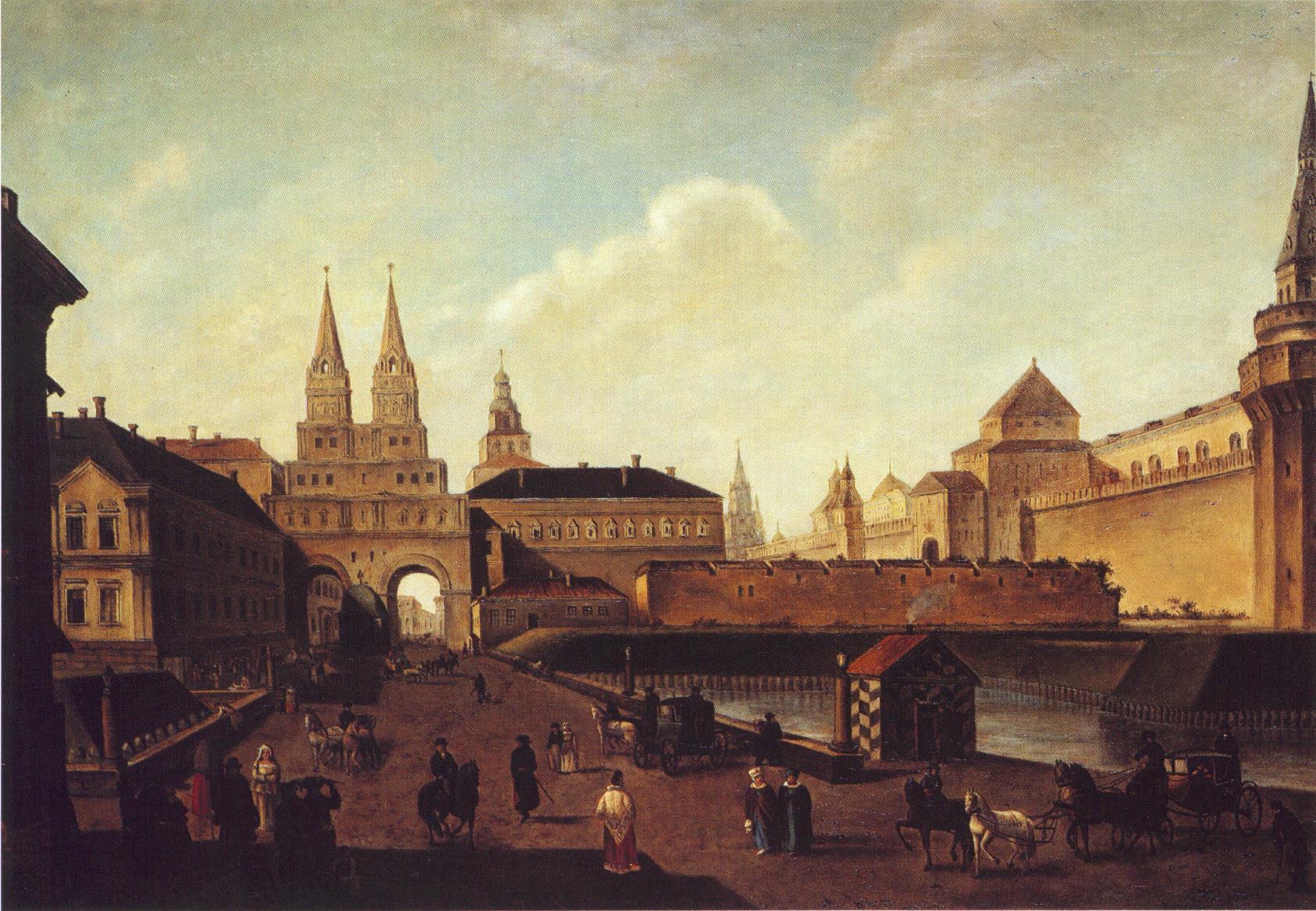 Вид на Воскресенские и Никольские ворота и Неглинный мост от Тверской улицы