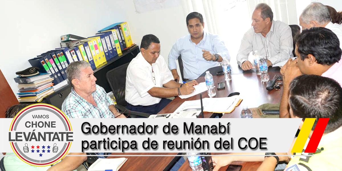 Gobernador de Manabí participa de reunión del COE
