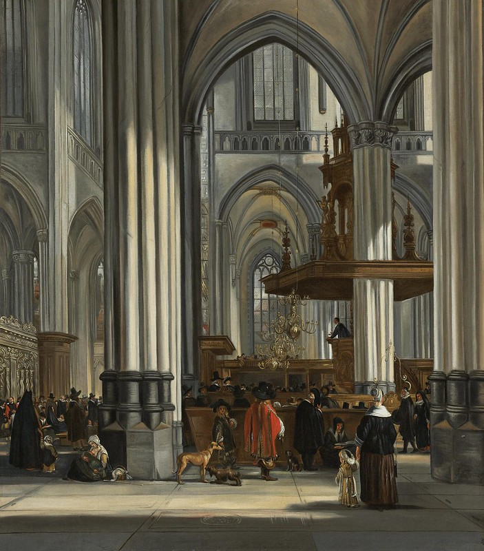 Emanuel de Witte - The interior of the Oude Kerk, Amsterdam with a sermon in progress