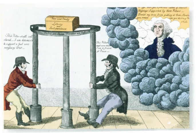 Federalist poster about 1800. Washington (in heaven) tells partisans to keep the pillars of Federalism, Republicanism and Democracy. Another source: A 1795 [¿? Washington died in 1799] cartoon depicting Washington warning party men to let all three pillars of Federalism, Republicanism, and Democracy stand to hold up Peace and Plenty, Liberty and Independence. At the left a Democrat says
