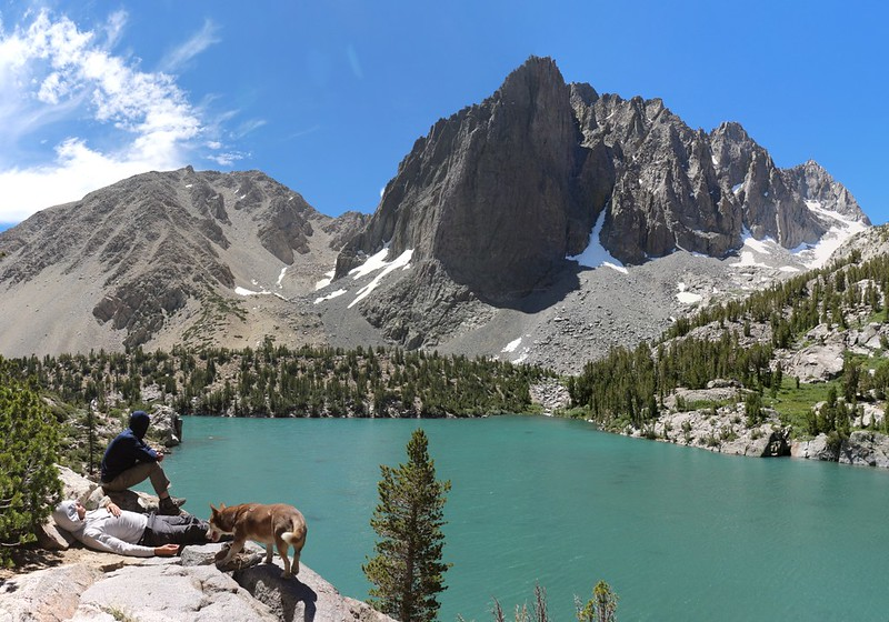 Taking a lunch break at Third Lake with that amazing view of Temple Crag