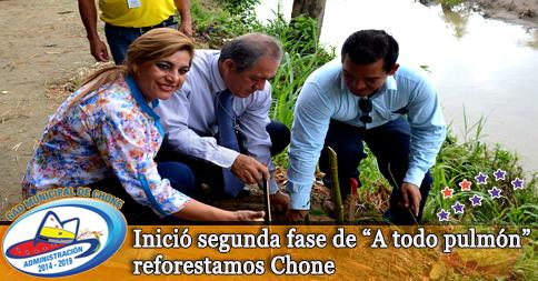 """Inició segunda fase de """"A todo pulmón"""" reforestamos Chone"""
