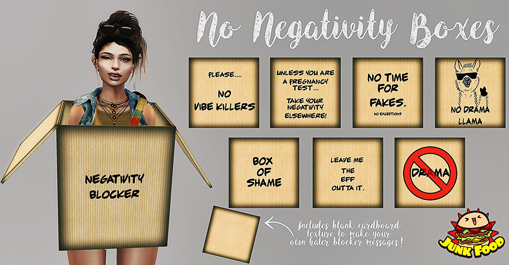 Junk Food – No Negativity Boxes Freebie