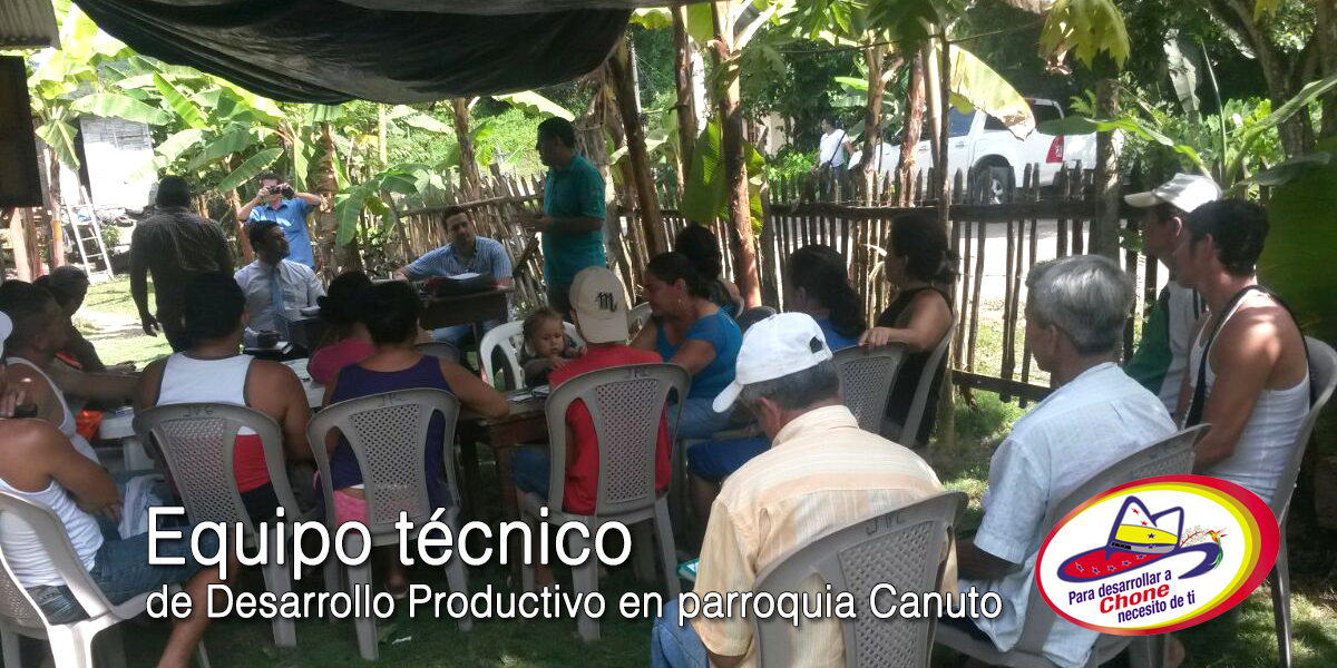 Equipo técnico de Desarrollo Productivo en parroquia Canuto