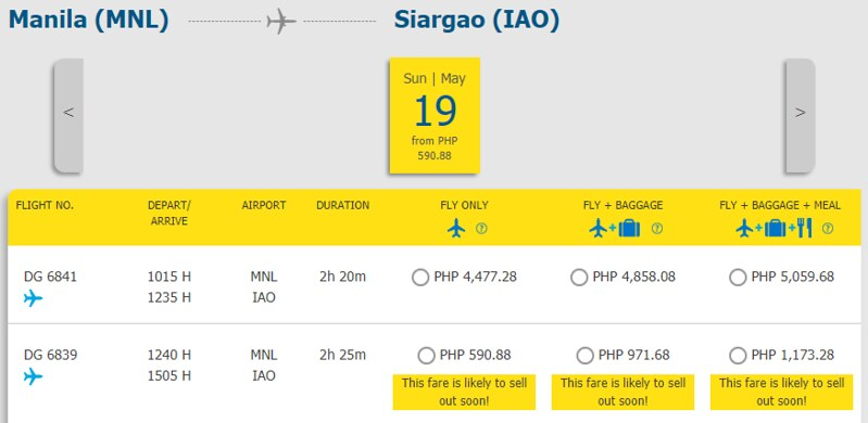 Cebu Pacific Piso Pair Manila to Siargao