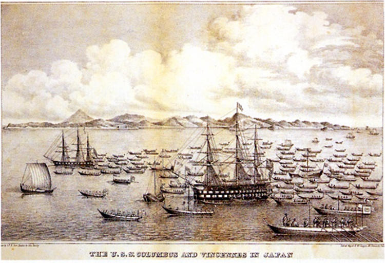 The USS Vincennes and USS Colombus in Tokyo Bay, Japan, in July 1846. John Eastley painting, 1848.