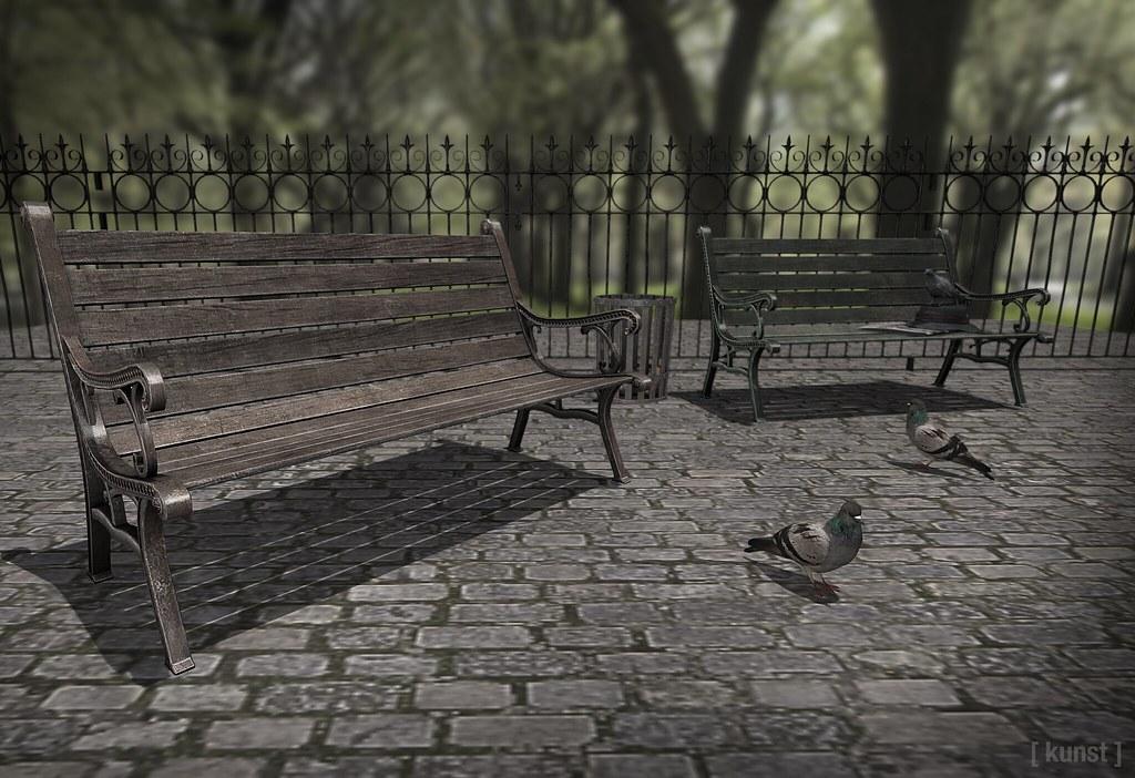 [ kunst ] – Cast iron park bench