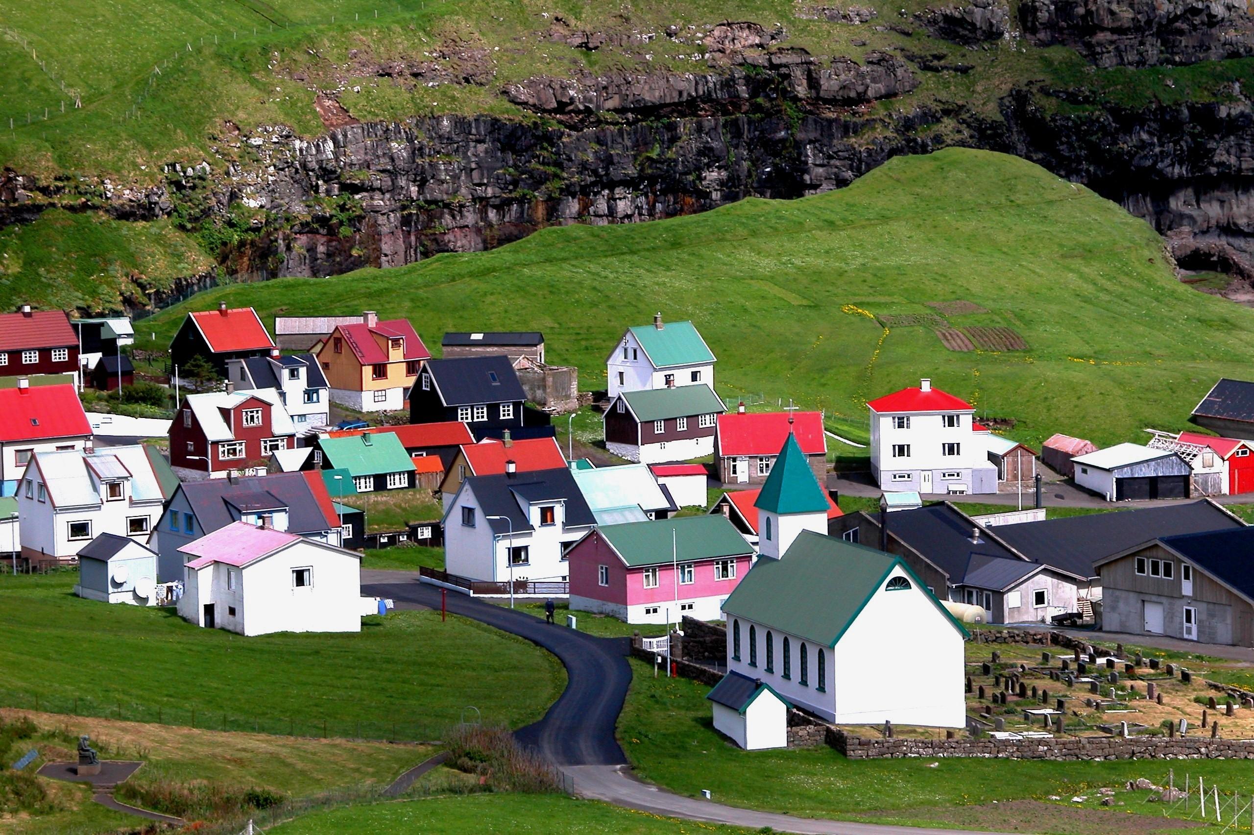 Gjógv, Eysturoy, Faroe Islands. Photo taken by Erik Christensen on June 20, 2005.