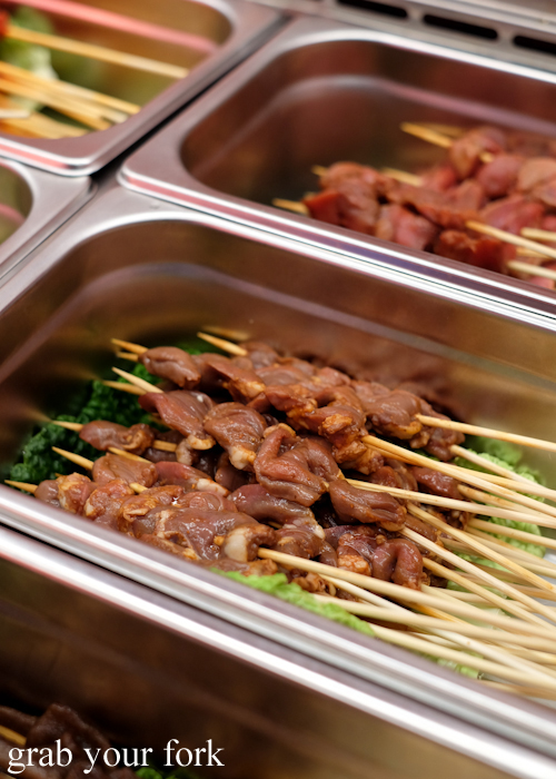 Cumin chicken heart skewers at Granny Wolf BBQ in Central Park Mall Sydney