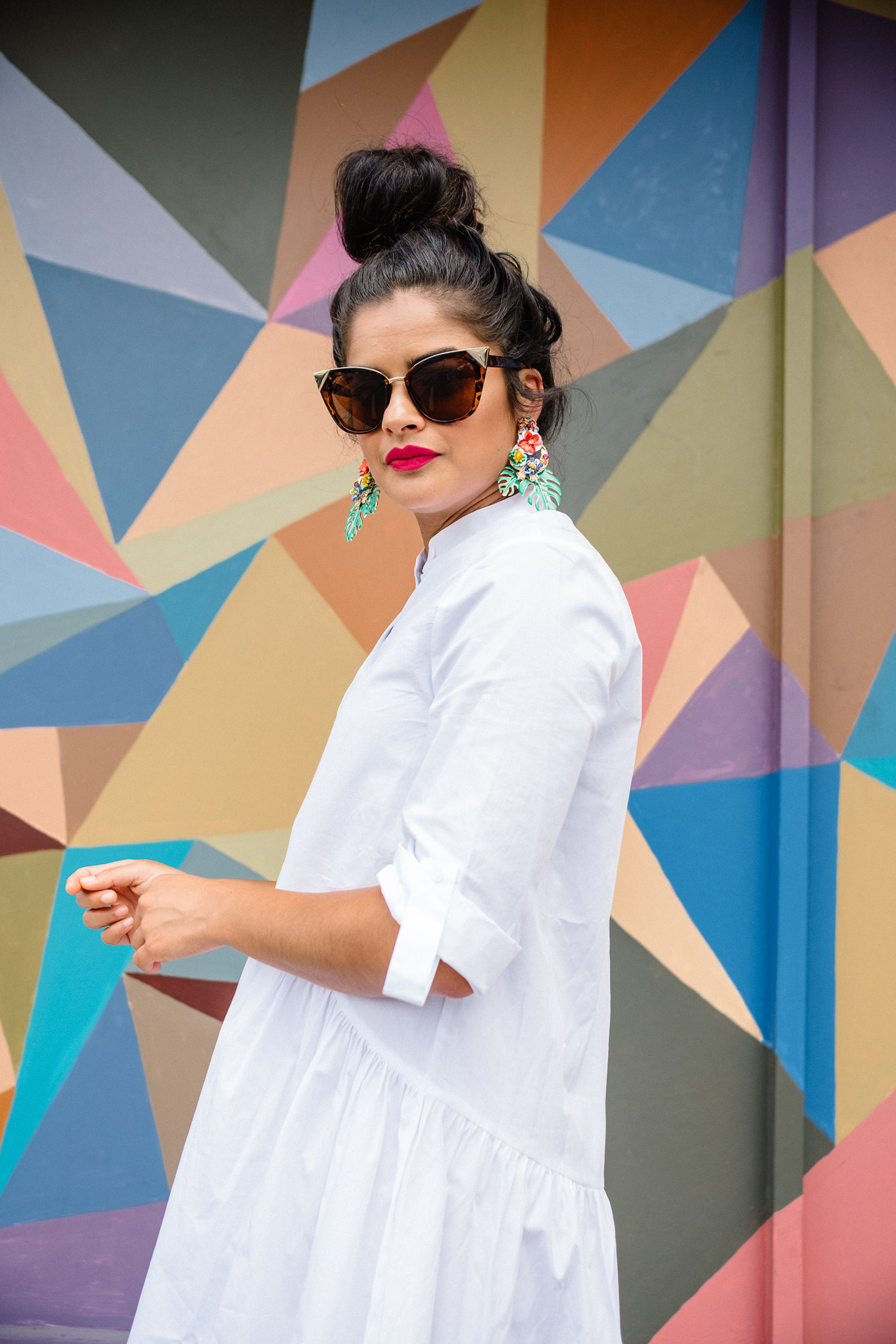 Priya the Blog, Nashville fashion blog, Nashville fashion blogger, Stila Liquid Lipstick in Bella, Zara Statement Earrings, tropical earrings, Zara white button-up swing dress, pink clogs, pink Swedish Hasbeens, summer outfit, Summer office outfit, Summer wear to work outfit,
