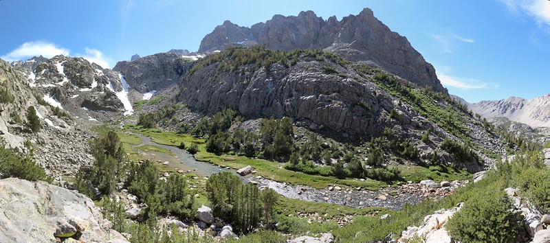 Panorama view of Sam Mack Meadow from high above on the Palisade Glacier Trail