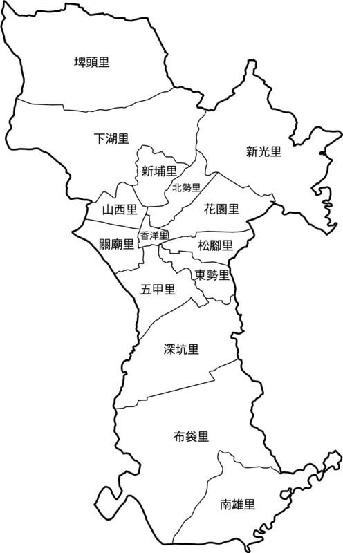 臺南市關廟區行政區地圖-15里-有里名無底色