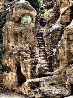Stairs and Cave in Little Petra
