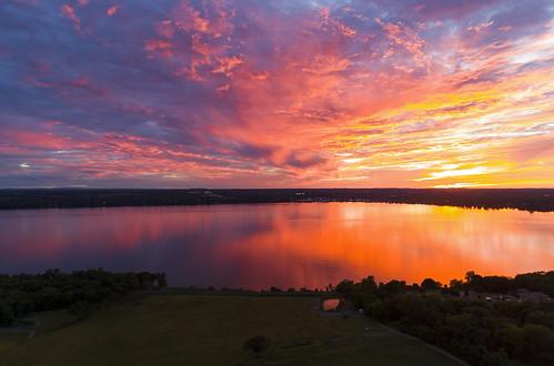 summer amazing sunset seneca flx fingerlakes incredible colorful stunning sky fire lake schoolsout summerbreak vacation holiday peaceful drone drones dji aerial phantom4 cny 2018 june solstice