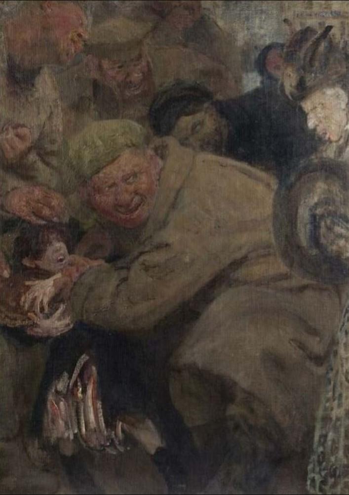 1918. Илья Репин. «Большевики. Солдаты Троцкого отнимают у мальчика хлеб»