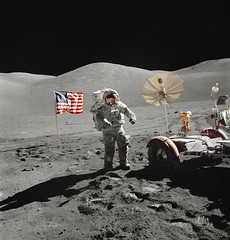 Astronaut Eugene A. Cernan,walks toward the Lunar Roving Vehicle during extravehicular activity at the Taurus-Littrow landing site of NASA's sixth and final Apollo lunar landing mission. Original from NASA. Digitally enhanced by rawpixel.